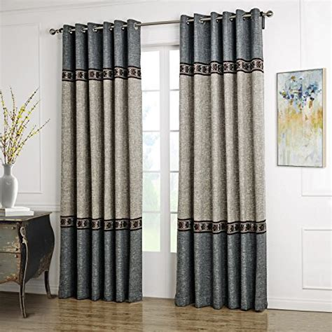 decorative drapes curtains twopages faux linen three pieced grey blue grommet curtain