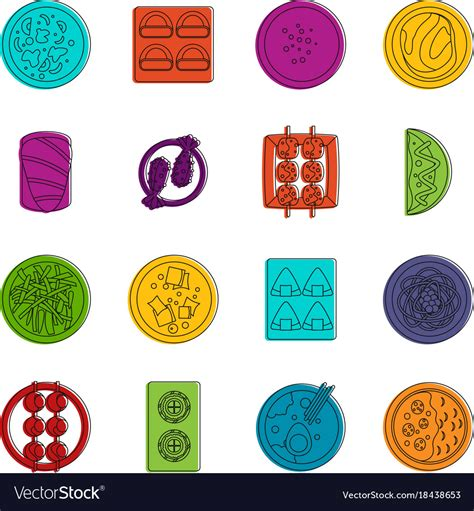 doodle food icons vector japan food icons doodle set royalty free vector image