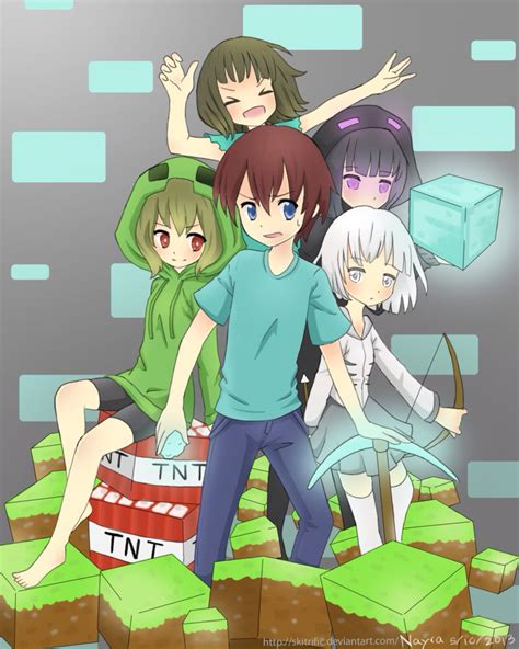 anime imagenes big minecraft anime versions of steve creeper skeleton