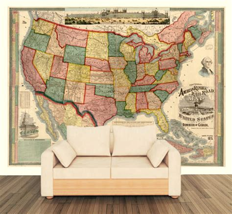wallpaper for walls usa united states 1875 wall map mural