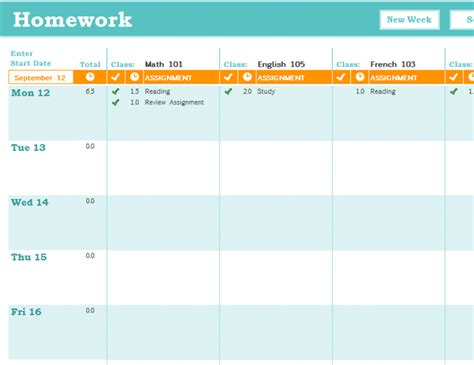 homework schedule office templates