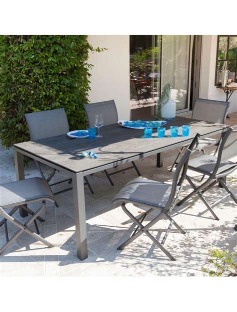tables de jardins table stoneo 180 plateau trespa 174 gris bois proloisirs