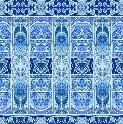 ye olde blue garden path fabric edsel2084 spoonflower