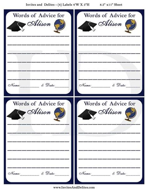 word graduation advice card template cards invites and delites