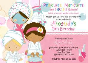 birthday invitation personalized spa pedi birthday