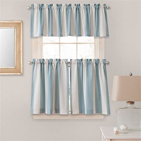 Striped Valances For Windows stripe window curtain tier pairs and valances in blue bed bath beyond