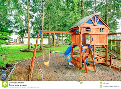 Playground For Kids. Backyard View Stock Photo   Image