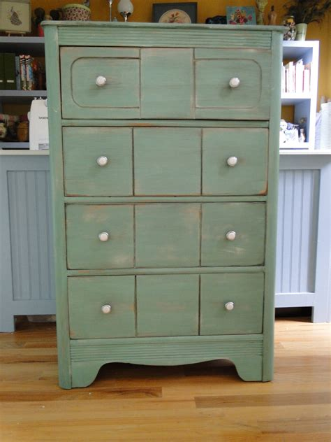 hand painted vintage shabby chic distressed blue dresser