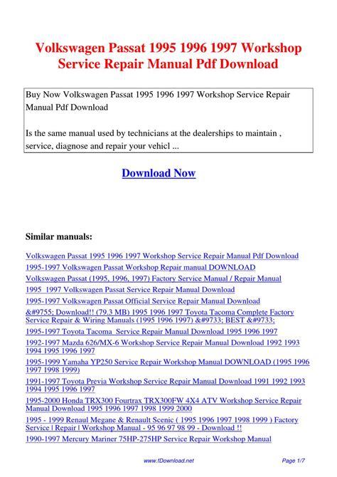 Volkswagen Passat 1995 1996 1997 Workshop Service Repair