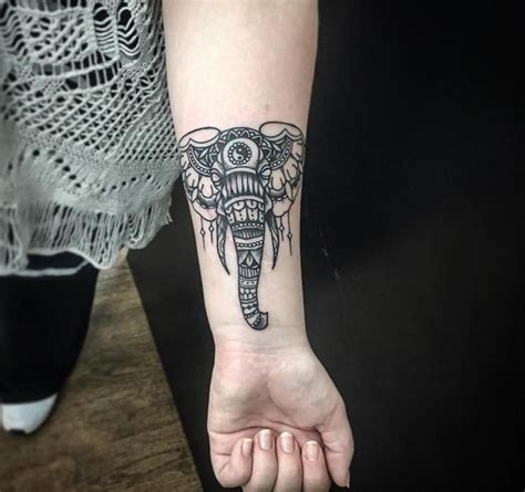 elephant face tattoo flower with mosaic elephant golfian