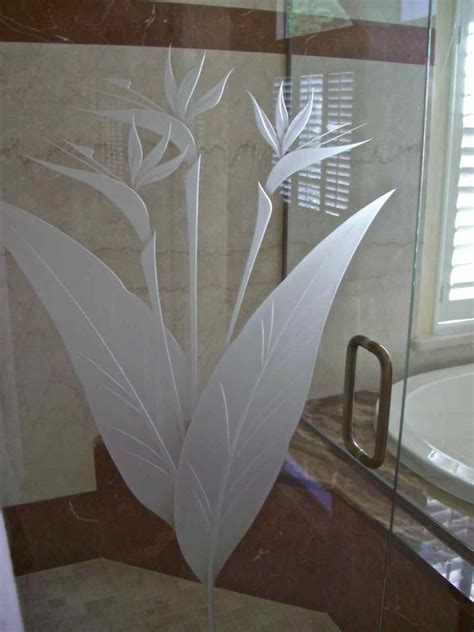 Etched Glass Shower Door Designs Brd Of Prdse Gls Shr Doors Etched Glass Tropical Design