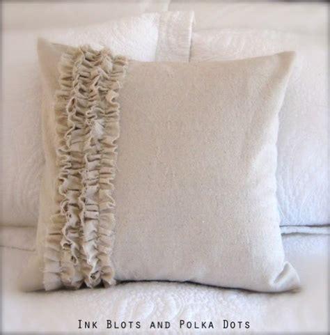 Ruffle Pillow Tutorial by Ink Blots Polka Dots Drop Cloth Ruffle Pillow