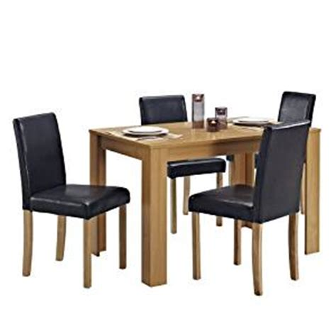 amazon dining table chairs dining table and 4 chairs with faux leather oak furniture