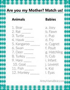 Couples Baby Shower Food Ideas - animal matching baby shower game free printable middle are you my mother and baby shower games