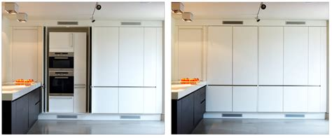 pocket doors in kitchen cabinetry perfect for hiding a tv the secret kitchen neil lerner designs