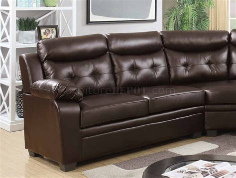 Faux Leather Sectional Sofa by 3022 Sectional Sofa In Espresso Faux Leather
