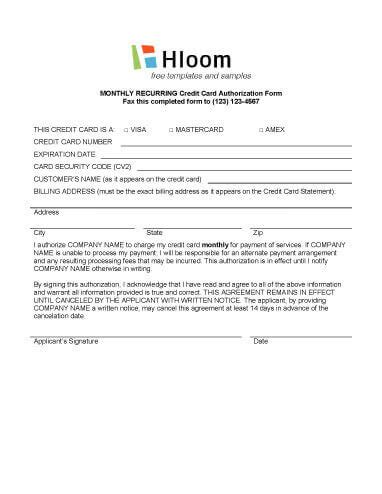 recurring credit card authorization form template credit card authorization forms hloom