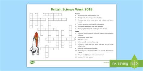 themes of discovery english ks2 british science week 2018 crossword exploration
