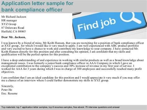 compliance bank bank compliance officer application letter