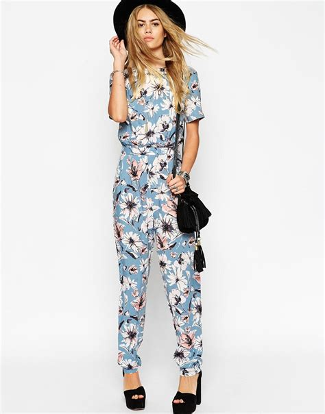 asos patterned jumpsuit asos floral printed t shirt jumpsuit in blue lyst