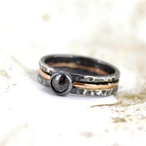 rustic rose cut diamond ring 14k pink gold and black