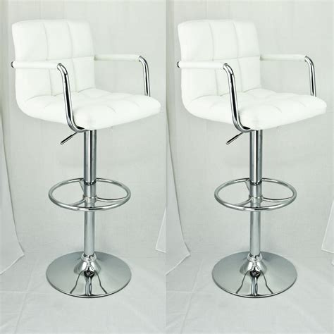 white bar stools with backs and arms 2 set swivel barstools white arm leather modern adjustable