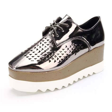 oxford creepers shoes womens platform wedge heels shoes flat lace up brogue
