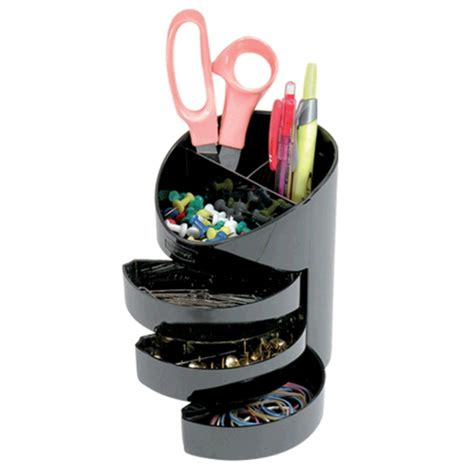 Officeworks Desk Accessories Eldon 3 Drawer Stationery Holder Black Ebay