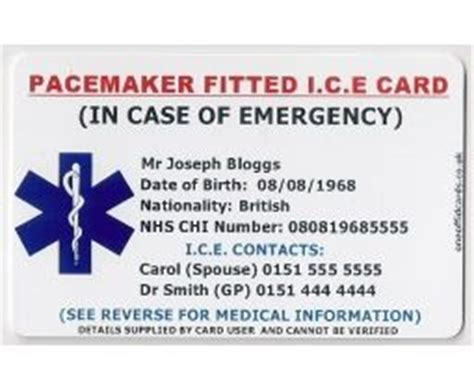 alert card template uk pacemaker fitted i c e card stuff to buy