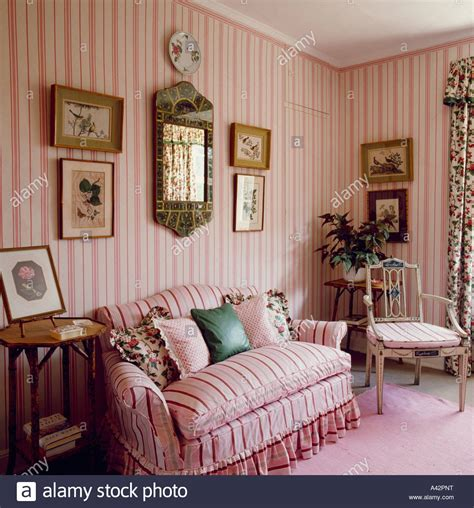Country Living Room Wallpaper Pink Striped Sofa In Country Living Room With Pink Striped