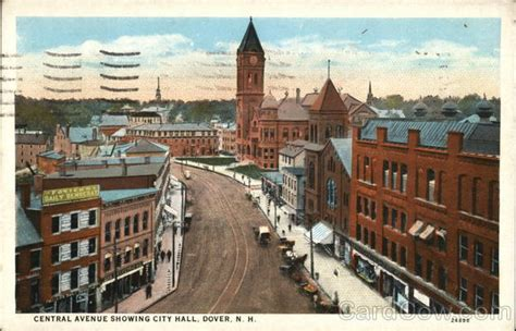 central avenue showing city dover nh postcard