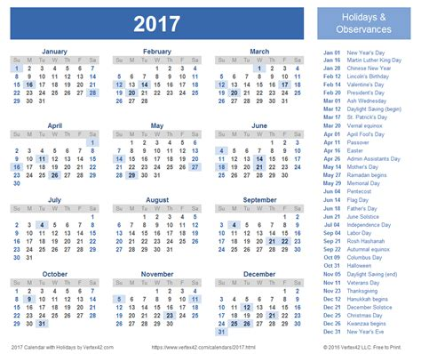 2017 Calendar With Holidays   calendar template excel