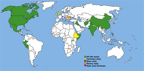 world map cities ive visited countries that the south park characters visited