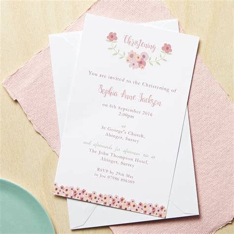 design invitation for christening personalised floral christening or baptism invitations by