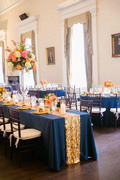Gold, Navy   Orange Wedding Decor // Dana Cubbage Weddings