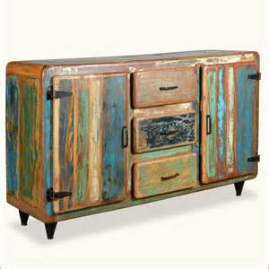 Wooden Buffet Tables Retro Reclaimed Wood Distressed Rustic Storage Cupboard