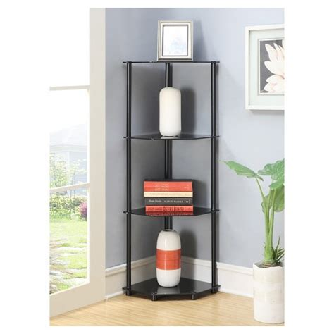 4 tier corner shelf black glass convenience concepts