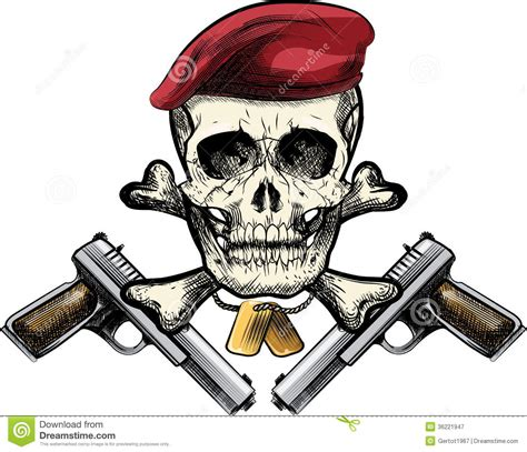 skull in the beret stock vector image of badge tattoo