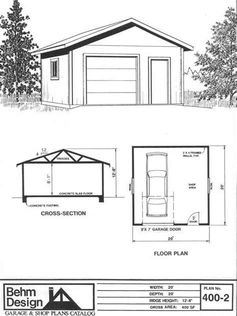 garage plan shop 1 car garage shop plan no 400 2 by behm design 20 x 20