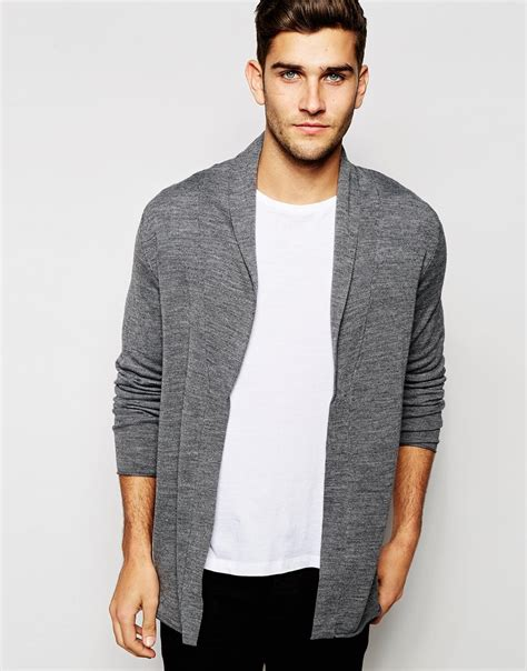 Cardigan Cardigan Grey lyst selected open drapey cardigan in gray for