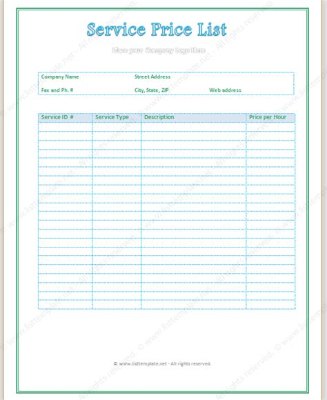 service price list template light format list templates