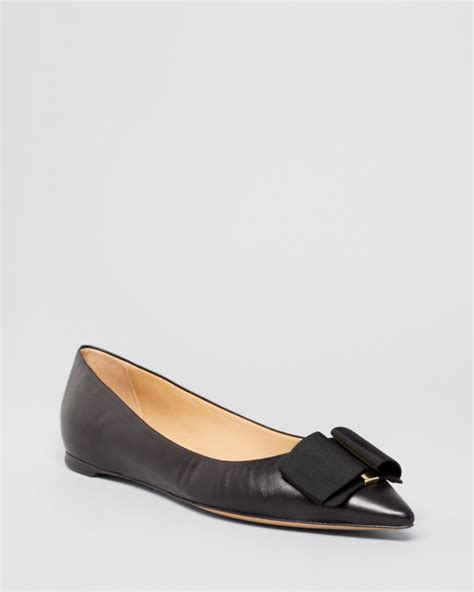 Pointy Bow Flats ferragamo pointed toe flats mimi bow in black lyst