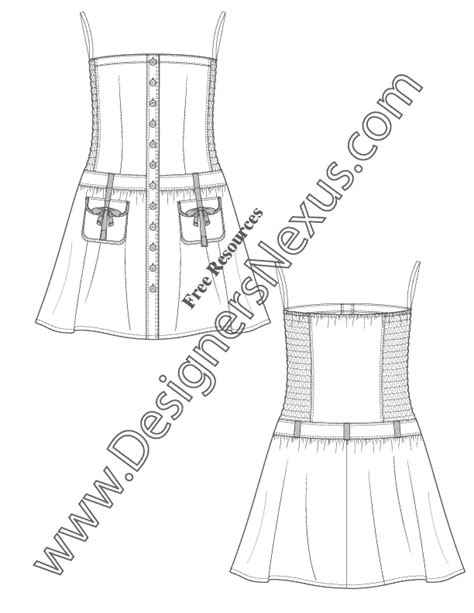 strapless dress  smocked side panels  illustrator