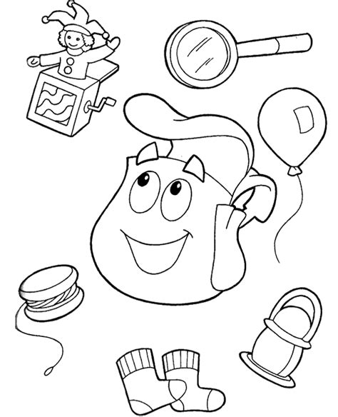 dora winter coloring pages dora s backpack and useful gadgets to print or download