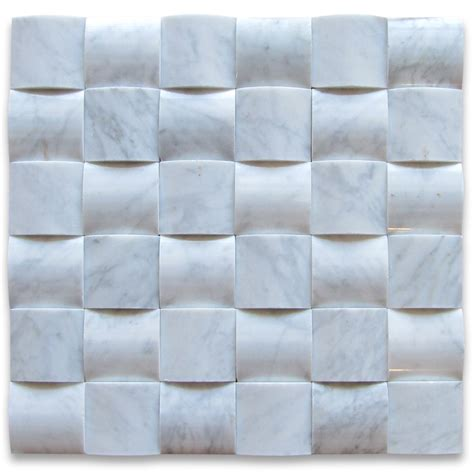 Glass Subway Tile Kitchen Backsplash Carrara White 3d Cambered 2x2 Curved Arched Mosaic Tile