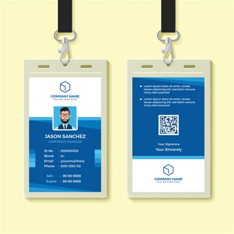 blue id card template blue employee id card design template vector premium