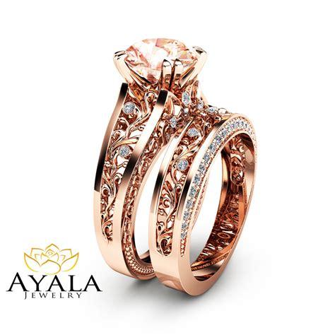 gold morganite engagement ring set unique 2 carat