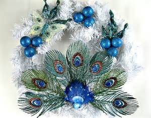 peacock christmas wreath holiday decoration winter wreath