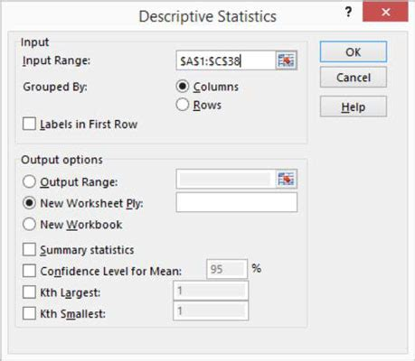 how to use excel's descriptive statistics tool dummies
