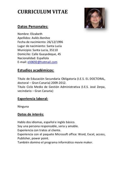 Modelo De Curriculum Vitae Ya Hecho Curriculum Vitae De Fol